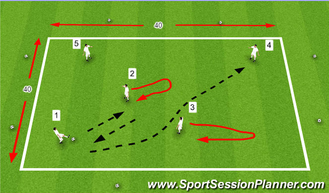 Football/Soccer Session Plan Drill (Colour): Short and Long Passing (Provincial B session)