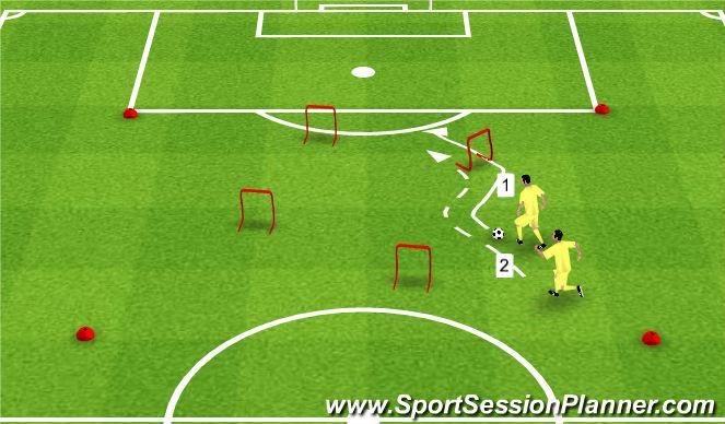 Football/Soccer Session Plan Drill (Colour): Rozgrzewka z prowadzeniem piłki w parach