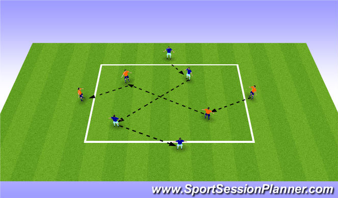 Football/Soccer Session Plan Drill (Colour): Pass n Move Together
