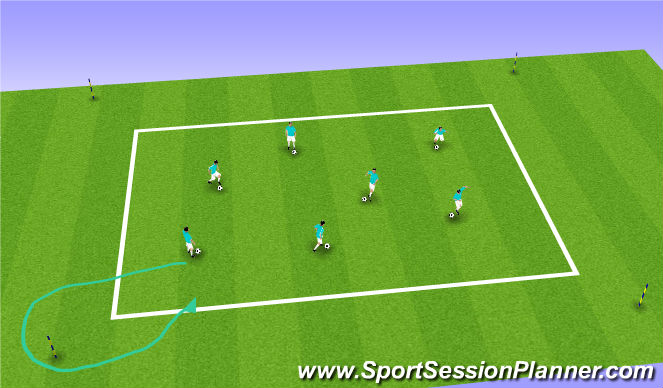Football/Soccer Session Plan Drill (Colour): Team Reaction Dribble