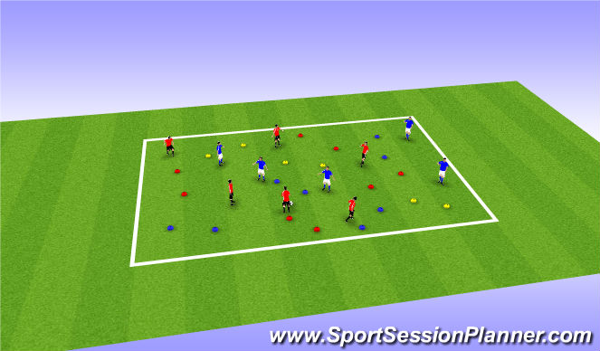 Football/Soccer Session Plan Drill (Colour): Advanced Coloured Cones