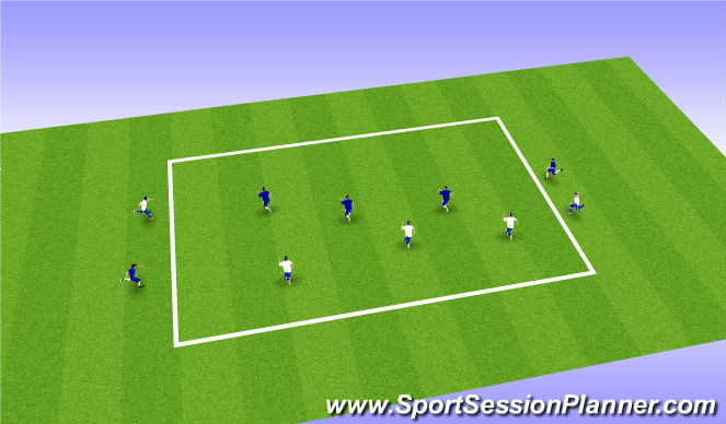 Football/Soccer Session Plan Drill (Colour): 3v3+2 Wide Play