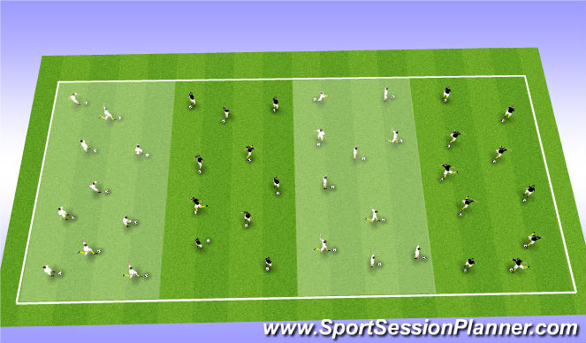 Football/Soccer Session Plan Drill (Colour): Dodgeball