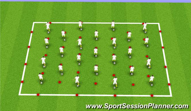 Football/Soccer Session Plan Drill (Colour): Coerver Skill Work
