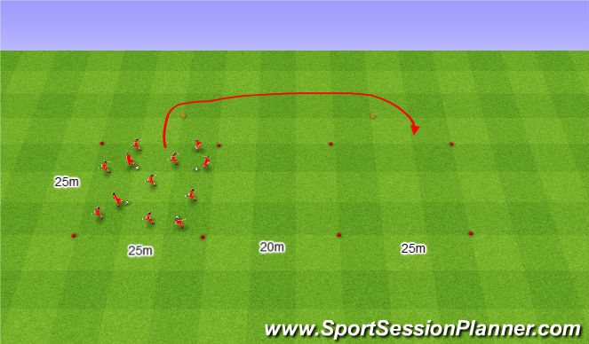 Football/Soccer Session Plan Drill (Colour): Dwa pola podania i zmiana na znak Trenera.