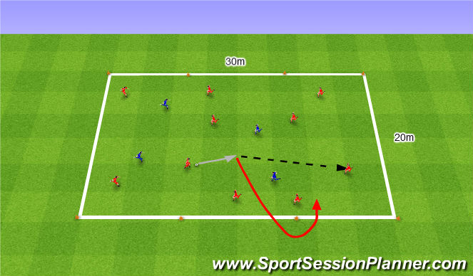 Football/Soccer Session Plan Drill (Colour): 10v4 keep ball. 10v4 na utrzymanie.