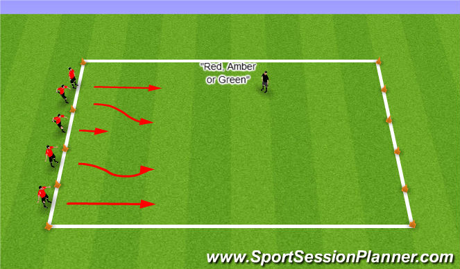 Football/Soccer Session Plan Drill (Colour): Traffic Lights across pitch