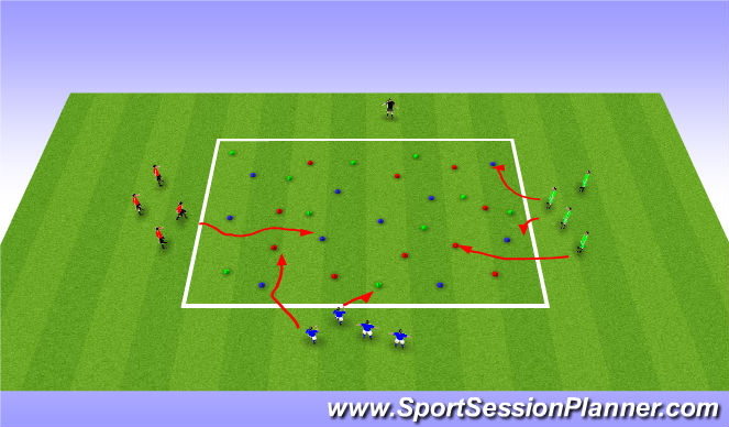 Football/Soccer Session Plan Drill (Colour): Flip the Cones