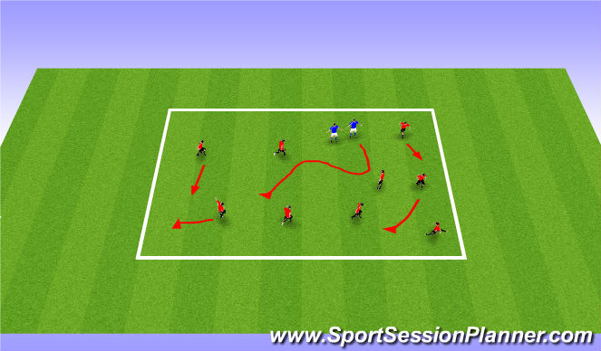 Football/Soccer Session Plan Drill (Colour): Chain Gang/The Blob