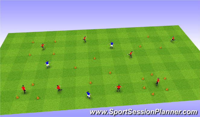 Football/Soccer Session Plan Drill (Colour): Safe Zones - Tag Game