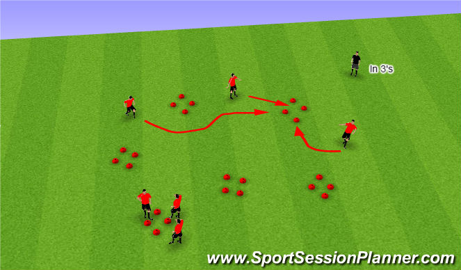 Football/Soccer Session Plan Drill (Colour): Hoops - warm up & dynamic movements