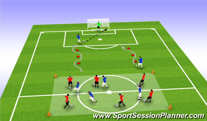 Football/Soccer Session Plan Drill (Colour): Breakout & Score
