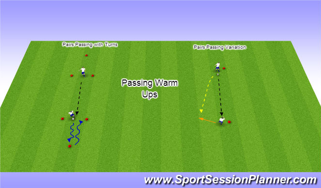 Football/Soccer Session Plan Drill (Colour): Passing Warm Ups