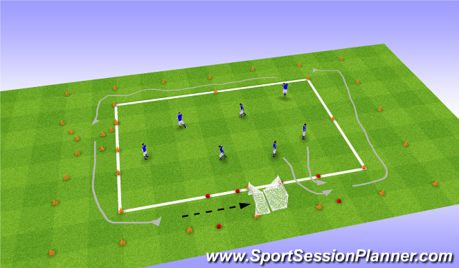 Football/Soccer Session Plan Drill (Colour): Goal Grand Prix
