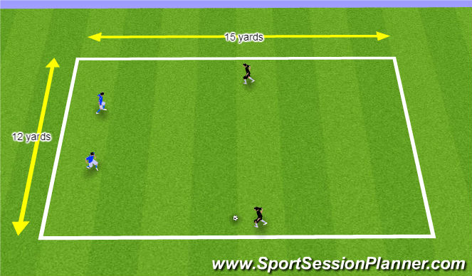 Football/Soccer Session Plan Drill (Colour): 2v2 Game & Technical Warm-up