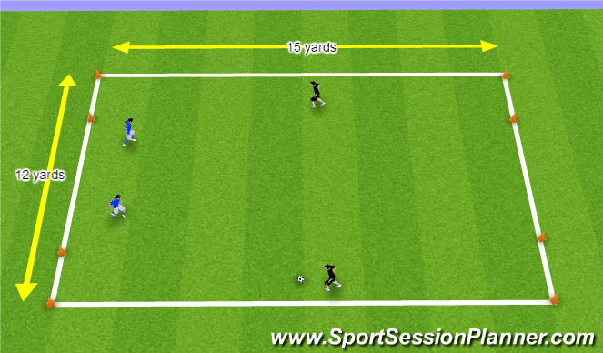Football/Soccer Session Plan Drill (Colour): 2v2 Game with 4 Goals