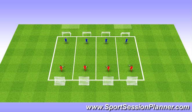 Futsal Session Plan Drill (Colour): 1v1s & 2v2s