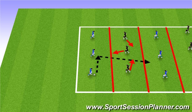 Football/Soccer Session Plan Drill (Colour): Team Defense Warm-up