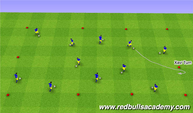 Football/Soccer Session Plan Drill (Colour): XAVI-MESSI