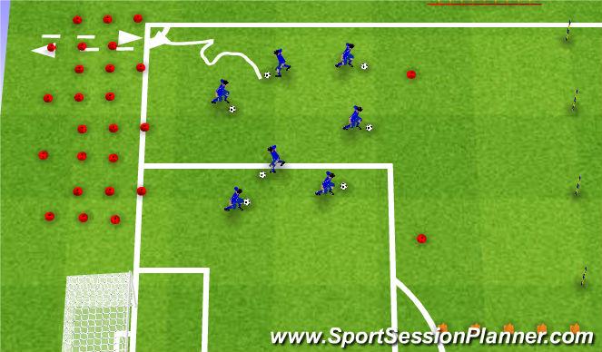 Football/Soccer Session Plan Drill (Colour): Prowadzenie z elementami koordynacji