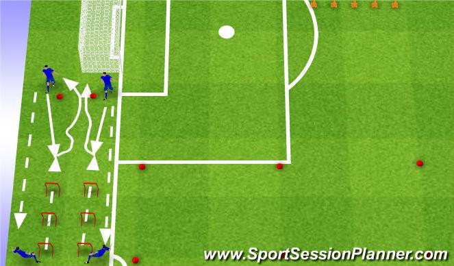 Football/Soccer Session Plan Drill (Colour): Ćwiczenia rozciągające na płotkach z elementami techniki