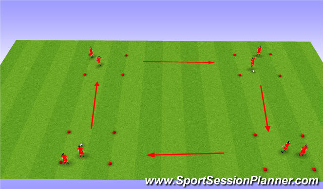 Football/Soccer Session Plan Drill (Colour): Dribbling squares