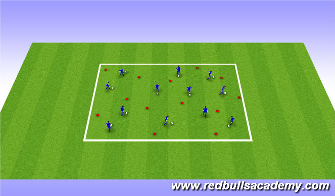 Football/Soccer Session Plan Drill (Colour): Ball Mastery and games / Dribbling moves (for 1v1s) - Unopposed