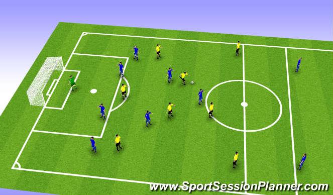Football/Soccer Session Plan Drill (Colour): 8v7