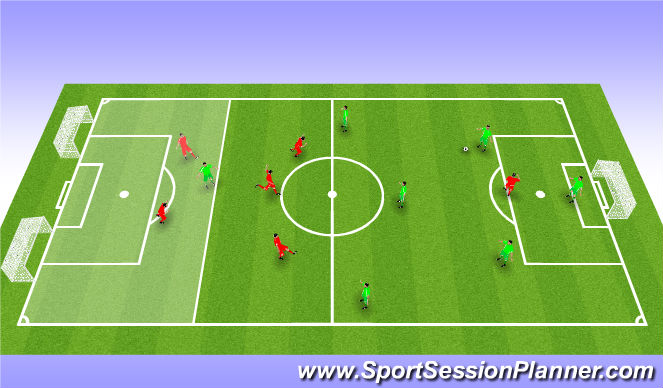 Football/Soccer Session Plan Drill (Colour): Match Big goal / Small goal