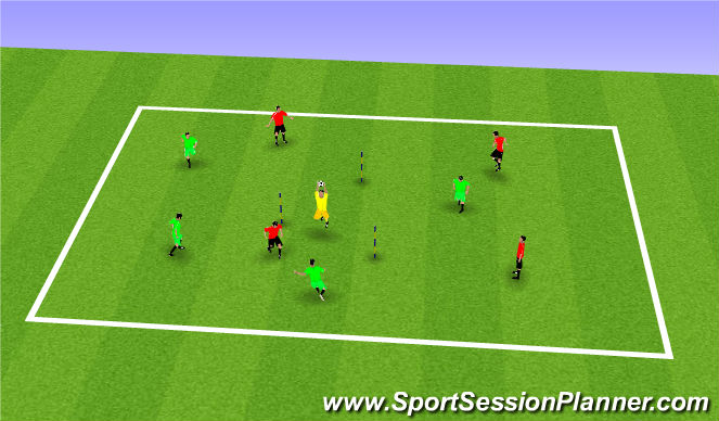 Football/Soccer Session Plan Drill (Colour): Triangle Goal Game