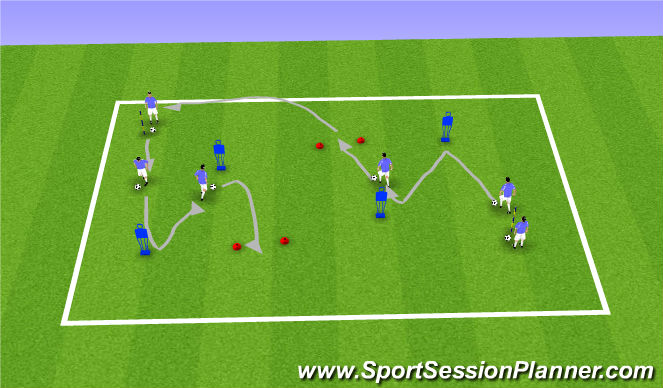 Football/Soccer Session Plan Drill (Colour): Technial Dribbling