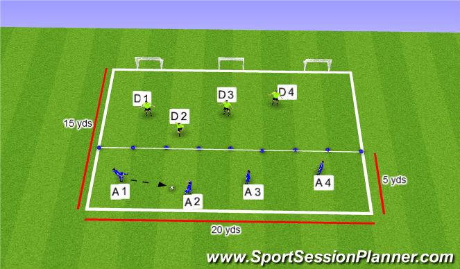 Football/Soccer Session Plan Drill (Colour): SII Small Sided Activity Defensive Shifting