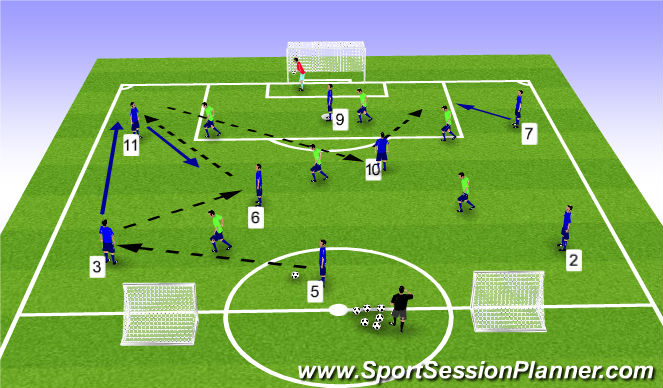 Football/Soccer Session Plan Drill (Colour): 8v6 no equip