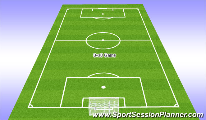 Football/Soccer Session Plan Drill (Colour): 8vs8 Game