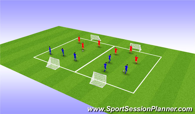 Football/Soccer Session Plan Drill (Colour): U8 3v3 Games