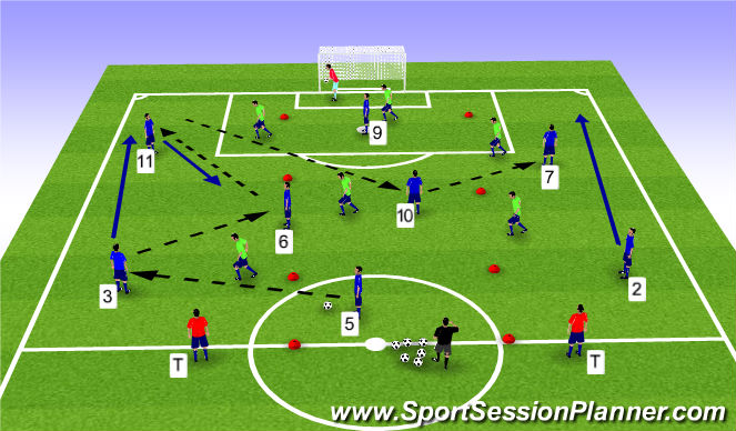 Football/Soccer Session Plan Drill (Colour): 8v6 w/ vert lines