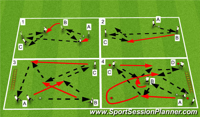 Football/Soccer Session Plan Drill (Colour): One Touch Warm Up Circuit