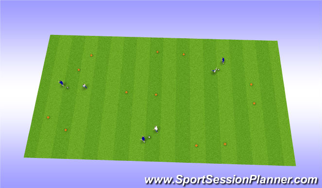 Football/Soccer Session Plan Drill (Colour): Gates 1v1