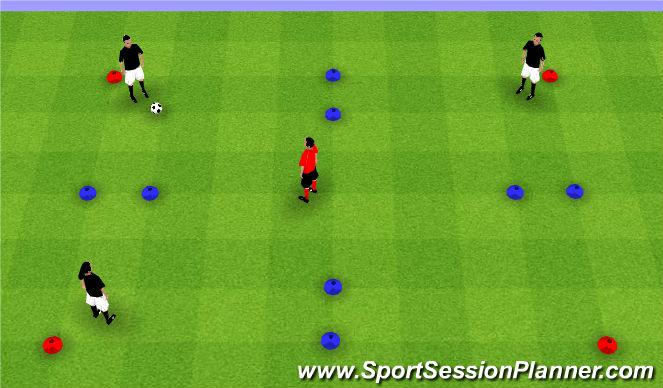 Football/Soccer Session Plan Drill (Colour): 3v1 Possession Gates