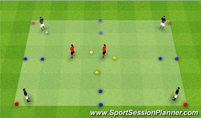 Football/Soccer Session Plan Drill (Colour): 4v2 Possession Gates