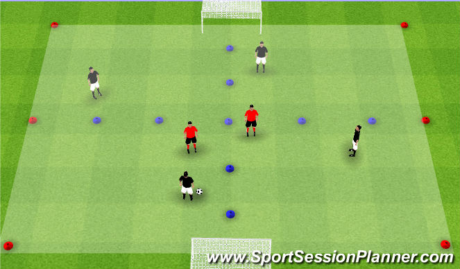 Football/Soccer Session Plan Drill (Colour): 4v2 Shape Game to Goal