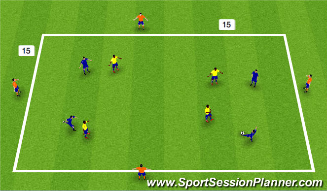 Football/Soccer Session Plan Drill (Colour): 8 v 4 posession