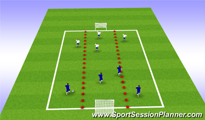 Football/Soccer Session Plan Drill (Colour): Conditioned Game - Zones