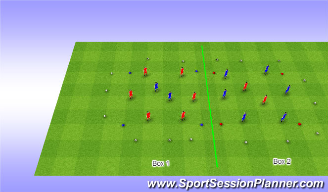Football/Soccer Session Plan Drill (Colour): Boxes - Warm Up