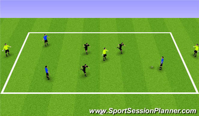 Football/Soccer Session Plan Drill (Colour): 3v3+3 or 3v3+2