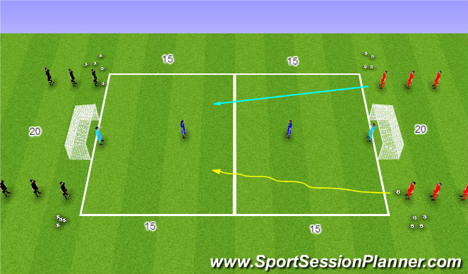 Football/Soccer Session Plan Drill (Colour): Shooting - Opposed - 2v1
