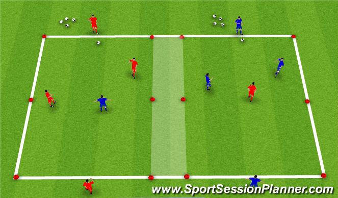 Football/Soccer Session Plan Drill (Colour): 2v1 (3v2)