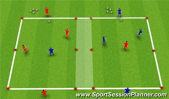 Football/Soccer Session Plan Drill (Colour): 2v1 (3v2)