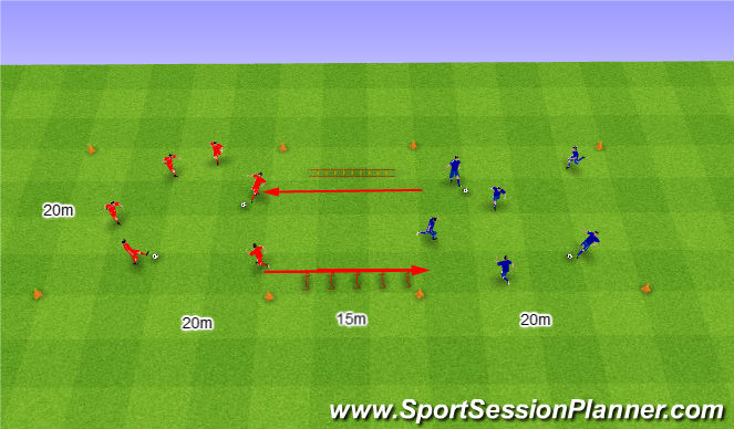 Football/Soccer Session Plan Drill (Colour): Two Teams in two grids with coordination. Dwa Zespoły w dwóch polach z koordynacją.