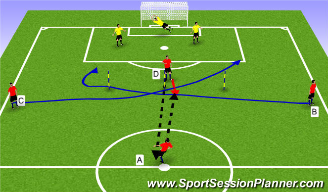 Football/Soccer Session Plan Drill (Colour): Passing & Receiving - Oppossed